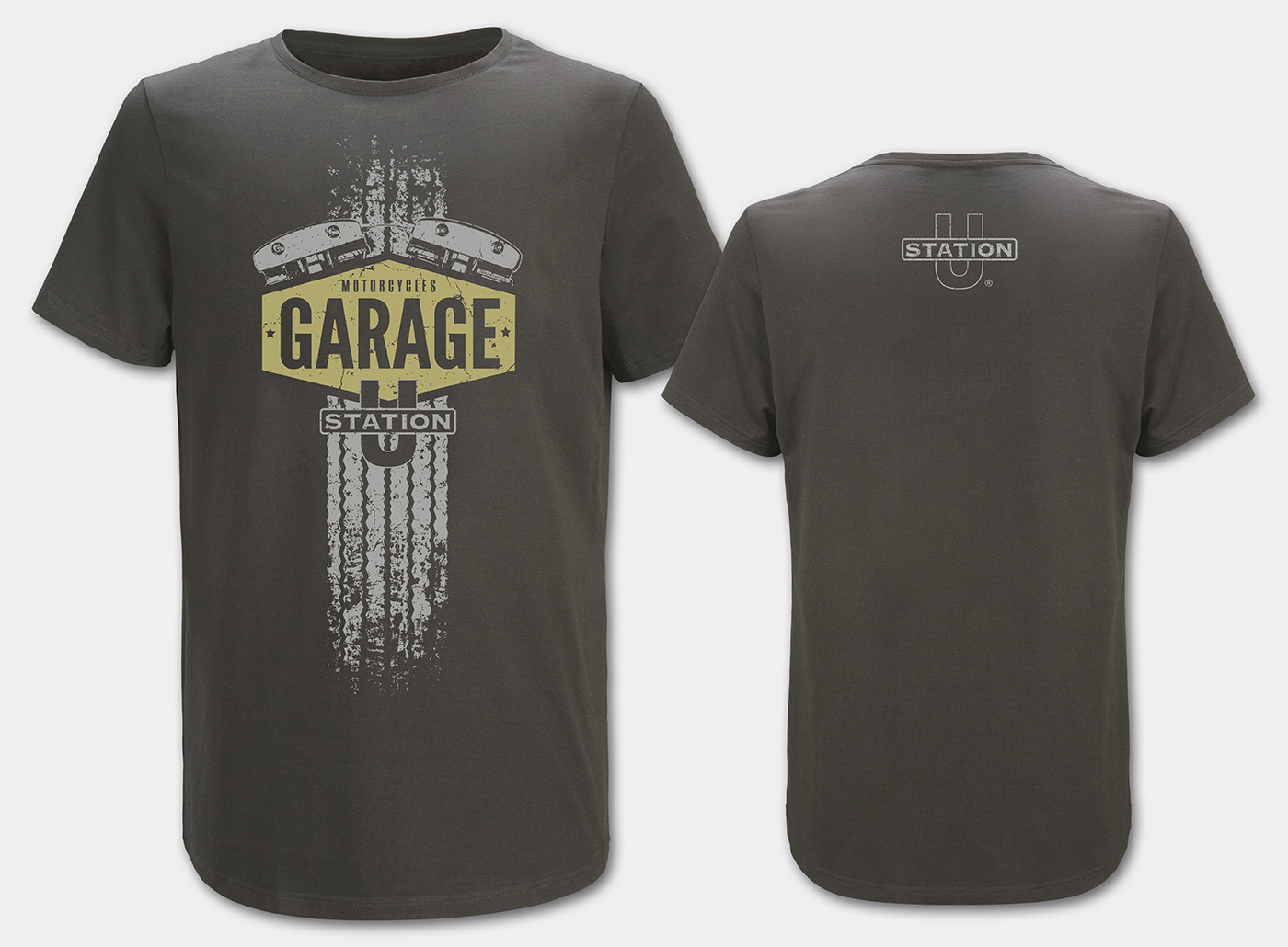 Motorcycle-Garage T-Shirt, charcoal front
