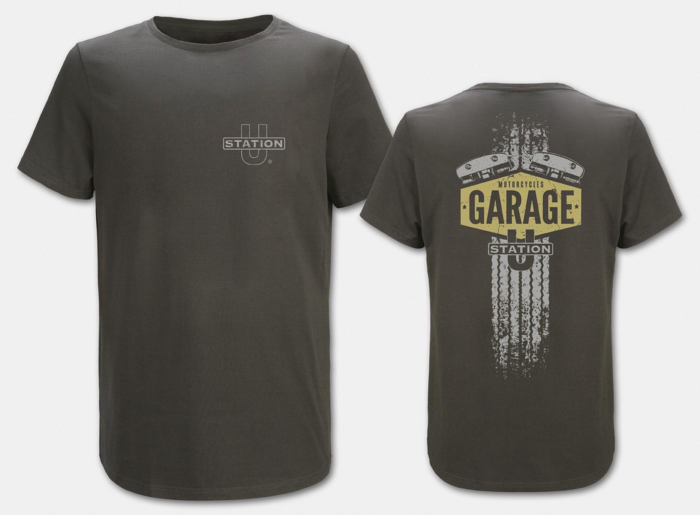 Motorcycle-Garage T-Shirt, charcoal