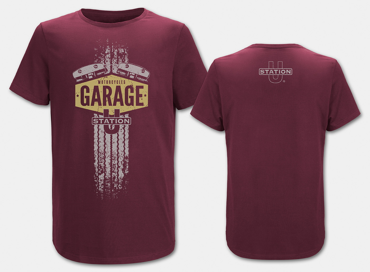 Motorcycle-Garage T-Shirt, maron front