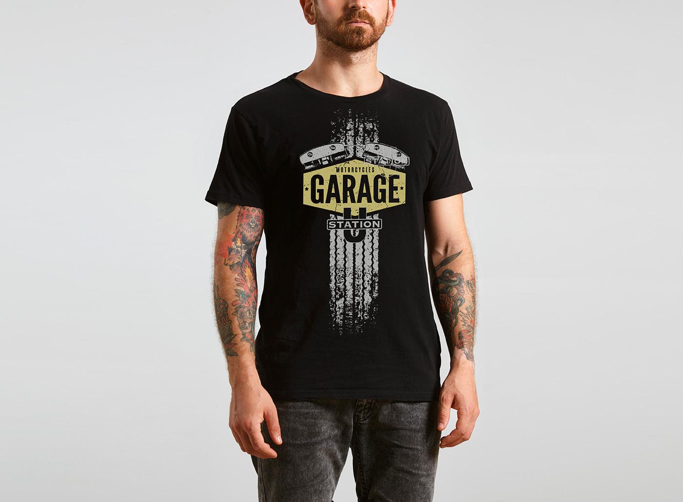 Motorcycle-Garage T-Shirt, black front