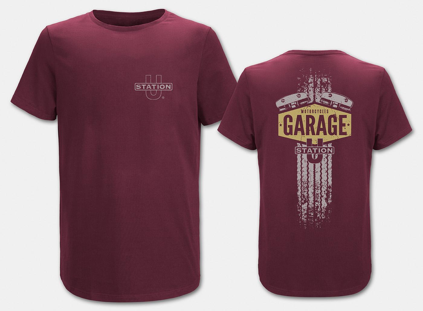 Motorcycle-Garage T-Shirt, maron
